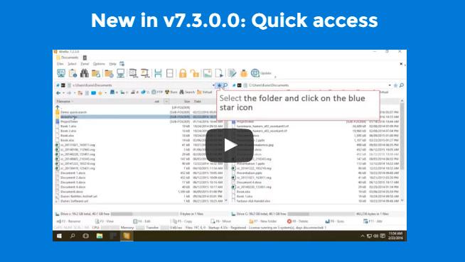 New in WinNc 7.3.0.0: Quick Access